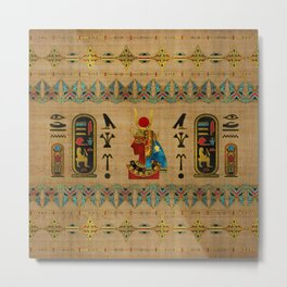 Hathor Egyptian Ornament on papyrus Metal Print
