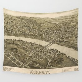 Vintage Pictorial Map of Fairmont WV (1897) Wall Tapestry