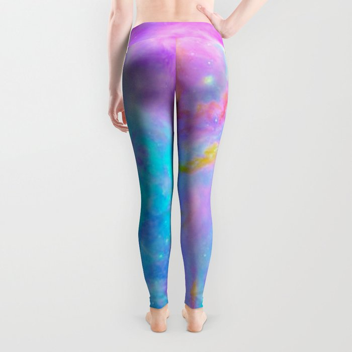 Orion nebulA : Bright Pink & Aqua Leggings