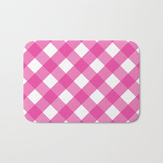 Pink & White Checkered Pattern-Mix and Match with Simplicity of Life on #Society6 Bath Mat