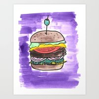 hamburger Art Prints featuring hamburger by yayanastasia