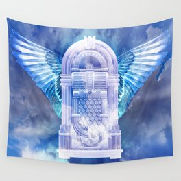Retro Blue Glow Flying Jukebox Wall Tapestry