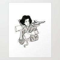 ripley Art Prints featuring Inktober: Ripley by Allison Smith Art