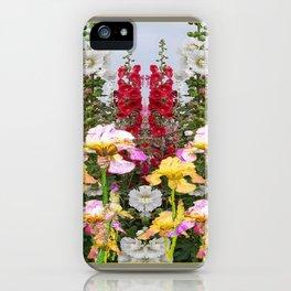 YELLOW  & GREY IRIS HOLLYHOCK FLOWER GARDEN DESIGN iPhone Case