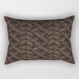 Brown Haka Cable Knit Rectangular Pillow
