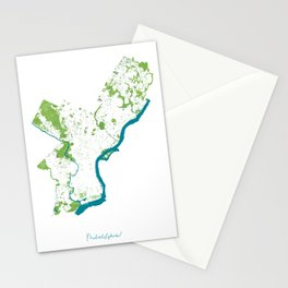 Philadelphia Map - Green Spaces Philly Parks Stationery Cards