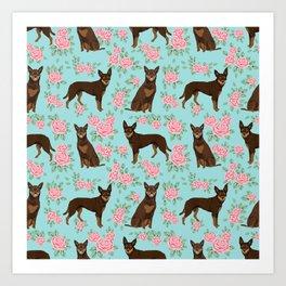 Kelpie florals dog breed cute gifts pattern dog lover pet portraits pet friendly designs Art Print