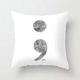Patterned Semicolon #2 Throw Pillow
