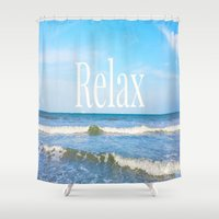 relax Shower Curtains featuring Relax by JuniqueStudio