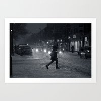 One Snowy Night in Montreal Art Print