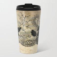 Black floral lace on wood  -Elegant and luxury design for women Metal Travel Mug