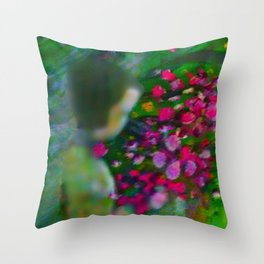 Little Girl Picking Flowers For Mom Throw Pillow