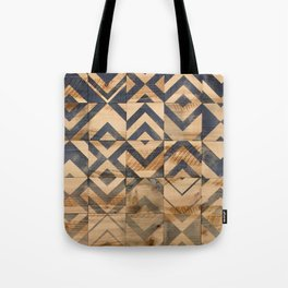 Chevron Scatter Black and Wood Tote Bag