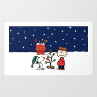 snoopy Art Prints featuring snoopy by Just Be Love