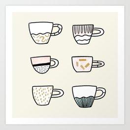 Cups cups cups Art Print