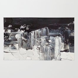 Flatline - black & white abstract painting Rug