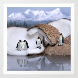 | Wild Food - Coconut and Penguins | Art Print