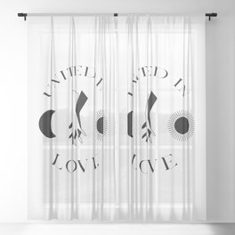 Celestial Black And White Hands Sun Moon United In Love Sheer Curtain