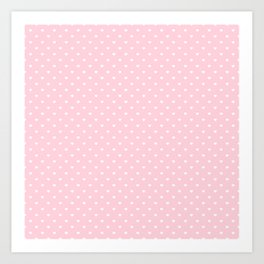 White Polka Dot Hearts on Light Soft Pastel Pink Art Print