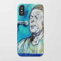 tom waits iPhone & iPod Cases featuring Blue Tom Waits by Mark Matlock