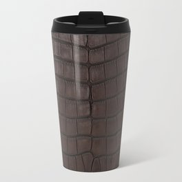 Alligator Brown Leather Print Travel Mug