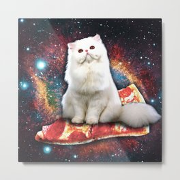 Space cat pizza Metal Print