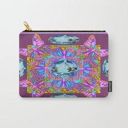 Pink Butterflies Medley Aqua Gems Puce Abstract Carry-All Pouch