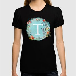Personalized Monogram Initial Letter T Blue Watercolor Flower Wreath Artwork T-shirt