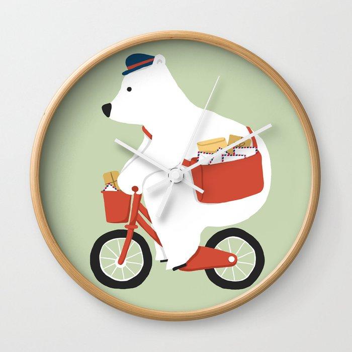 Polar bear postal express Wall Clock