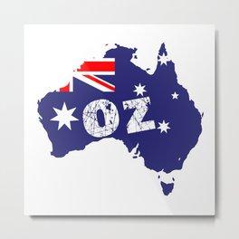 Outline Map OZ Metal Print