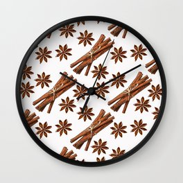 Cinnamon sticks and star anise. Wall Clock