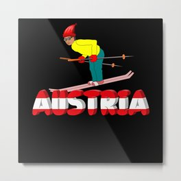 Austria Vacation Skiing Alps Mountains Gift Metal Print