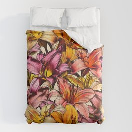 Daylily Drama - a floral illustration pattern Comforters