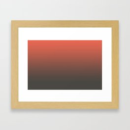 Pantone Living Coral & Beluga Gray Gradient Ombre Blend, Soft Horizontal Line Framed Art Print