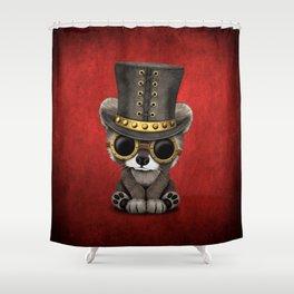 Steampunk Baby Raccoon Shower Curtain