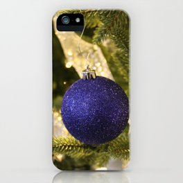 Blue Glitter Christmas Ornament iPhone Case