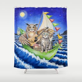 The Owl and the Pussycat Shower Curtain