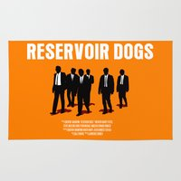 reservoir dogs Area & Throw Rugs featuring Reservoir Dogs Movie Poster by FunnyFaceArt