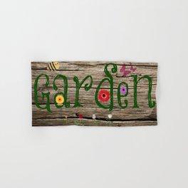 Whimsical Garden Sign Wood Background Hand & Bath Towel