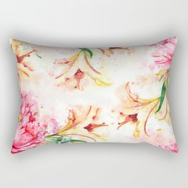 Peony Floral #society6 #floral #watercolor Rectangular Pillow
