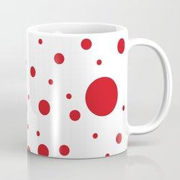 Mixed Polka Dots - Fire Engine Red on White Coffee Mug