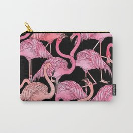 Flamingos Pattern Black Carry-All Pouch