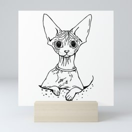 Big Eyed Pretty Wrinkly Kitty - Sphynx Cat Illustration - Nekkie - Cat Lover Gift Mini Art Print