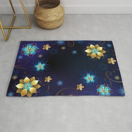 Blue Background with Flowers Rug