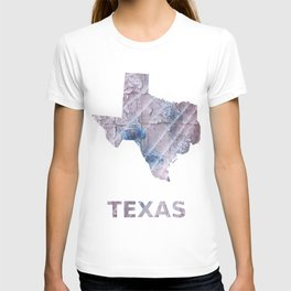 Texas map outline Dark gray stained watercolor pattern T-shirt