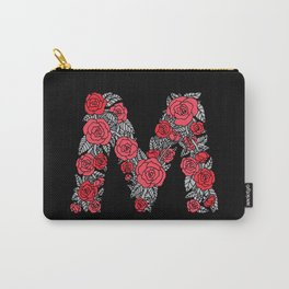 Floral Type - Letter M - Black and Blush Carry-All Pouch