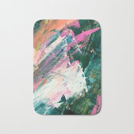 Meditate [5]: a vibrant, colorful abstract piece in bright green, teal, pink, orange, and white Bath Mat