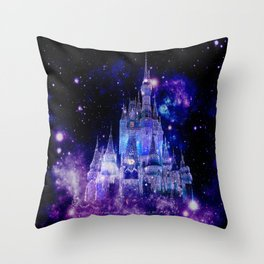 Celestial Palace : Purple Blue Enchanted Castle Throw Pillow