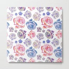 Gorgeous Floral Illustrative Pattern Metal Print