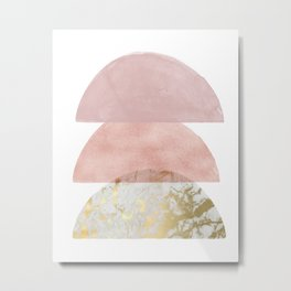 Blush Pink Semi-circle Metal Print